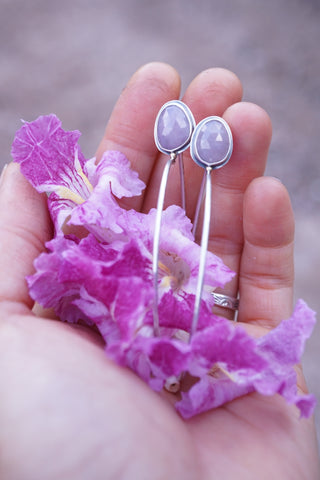 desert willow flowers and sapphire earrings