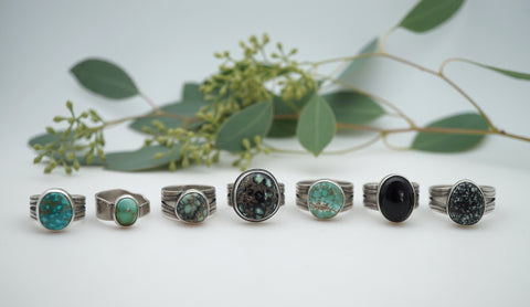 Turquoise and Variscite ring assortment