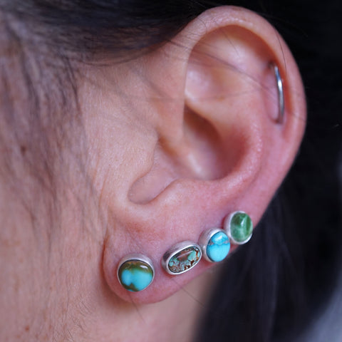 single turquoise stud earrings