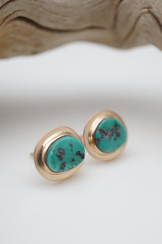 sleeping beauty turquoise and gold stud earrings