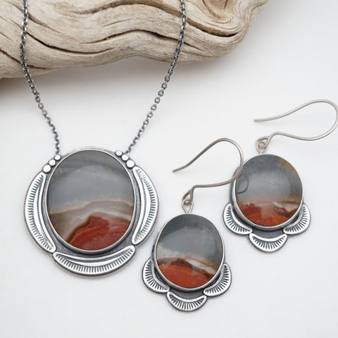 landscape jasper earring and necklace set