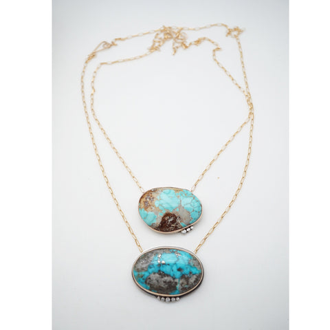 Large oval turquoise and gold necklaces