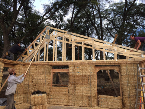 straw bale building in progress