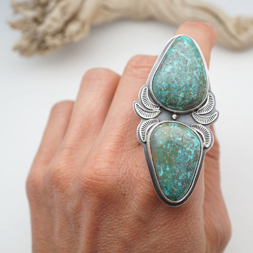 robbins nest turquoise two-stone ring - size 8.5