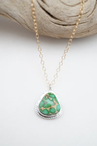 "sonoran gold turquoise + silver and goldfill necklace - 17"" chain"