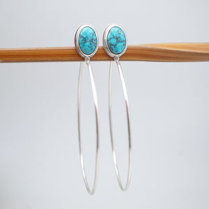 sonoran blue j turquoise + silver hoops