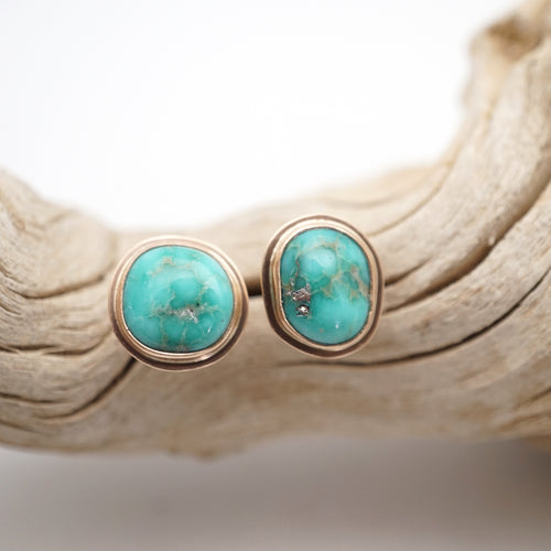 whitewater turquoise + 14k goldfill studs