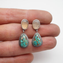moonstone and turquoise delicate dangle earrings