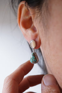 rosecut moonstone + turquoise mountain turquoise dangles