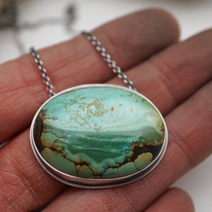 hubei turquoise oval landscape necklace