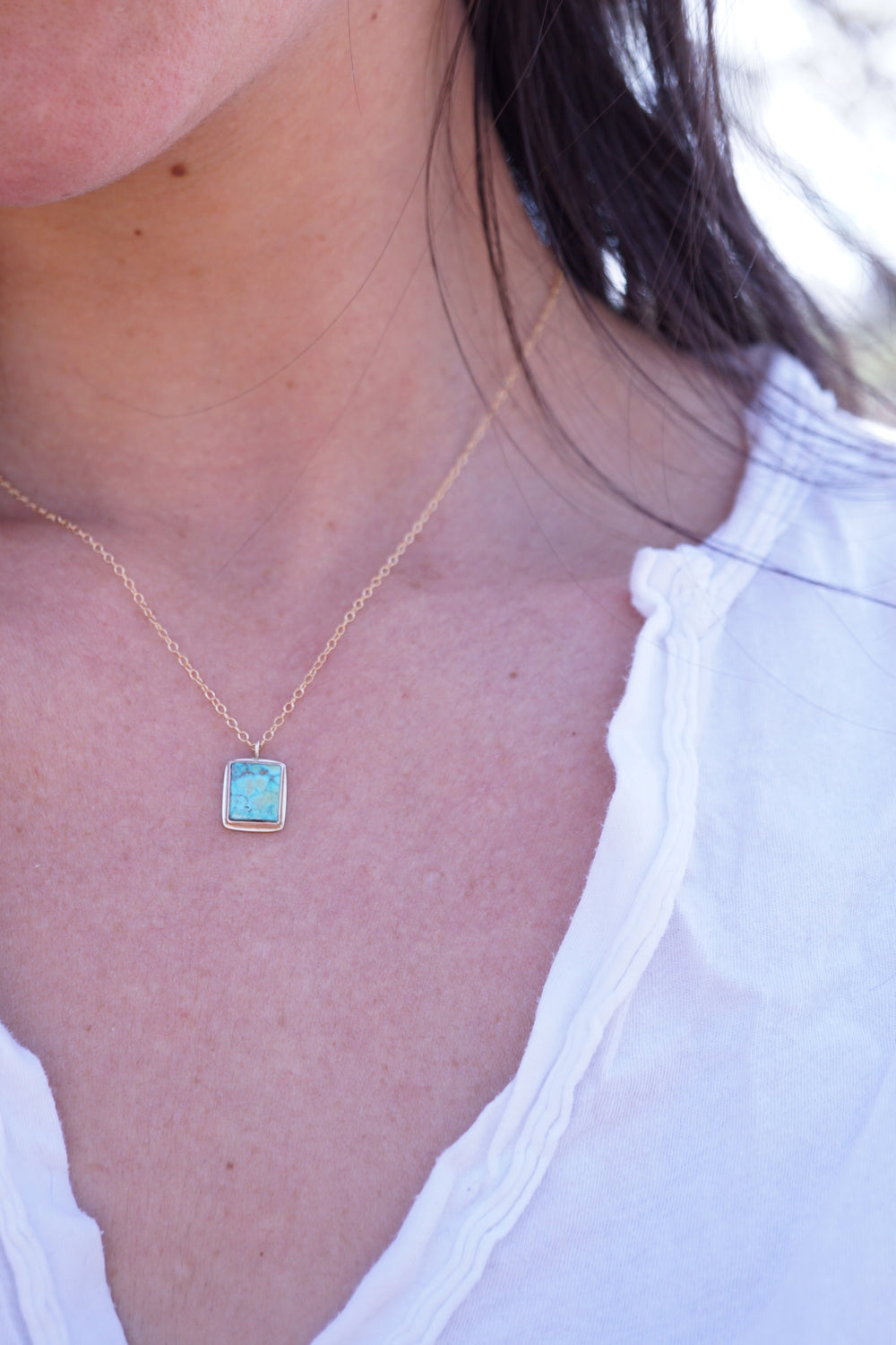 "dainty turquoise mountain turquoise + 14k goldfill necklace - 18"" chain"