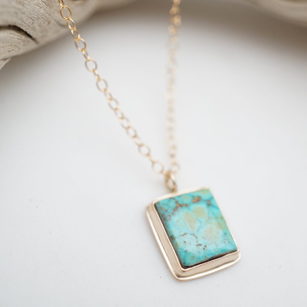 dainty turquoise mountain turquoise + 14k goldfill necklace - 18