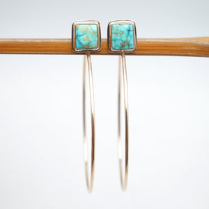 gold and turquoise hoop earrings