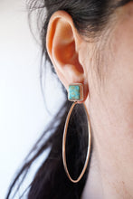 square turquoise mountain turquoise + 14k goldfill hoops