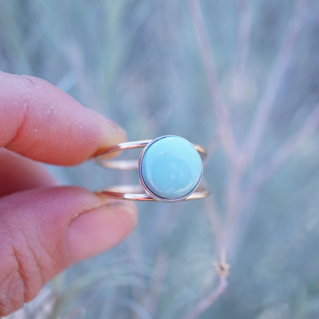 blue gem turquoise open band ring in 14k goldfill and sterling - size 9