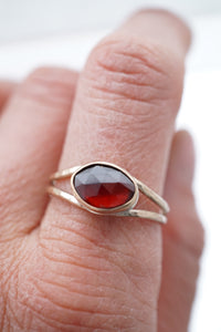 garnet open band ring - silver + 14k goldfill - size 9.25