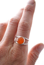 carnelian open band ring - silver + 14k goldfill - size 8