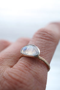 rainbow moonstone ring - silver + 14k goldfill - size 7.5