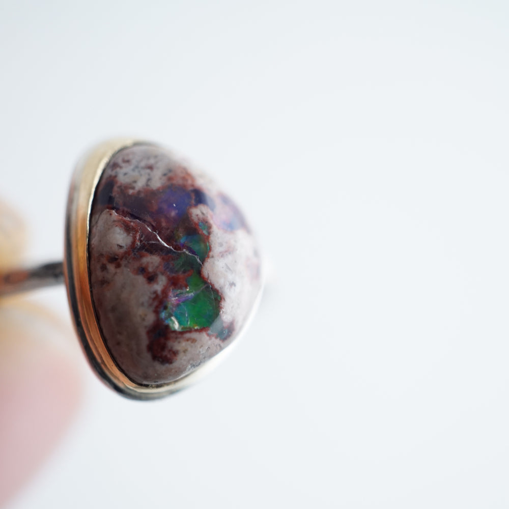 mexican cantera opal ring - silver + 18k gold - size 7