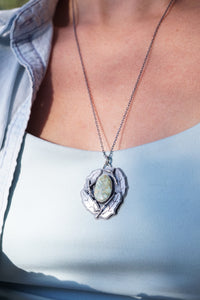 big oak leaf necklace with apache variscite