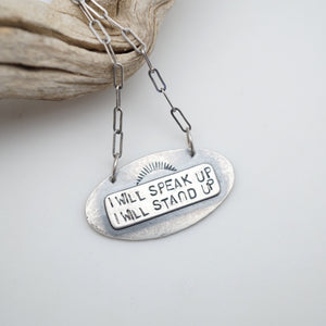 i will speak up necklace #7 & #8 - silver only, reversible