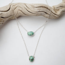 two stone dainty necklace - high grade cheyenne turquoise