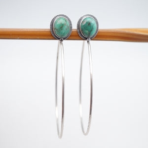 broken arrow variscite + silver hoops