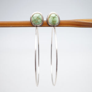 emerald valley turquoise + silver + 14k goldfill hoops