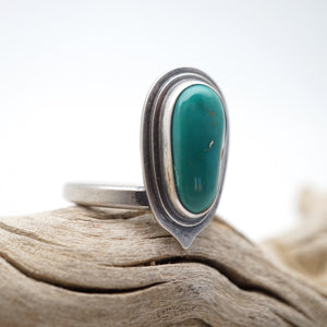 double layered royston turquoise ring - size 7.5