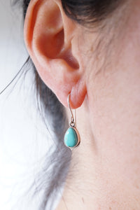 red mountain turquoise + silver teardrop dangle earrings