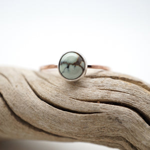 teeny tiny poseidon variscite stacking ring - 14k rose goldfill + silver - size 8