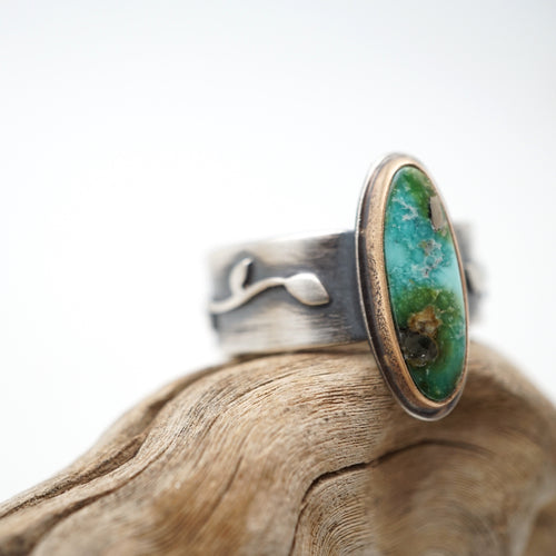 sonoran gold turquoise vine ring - size 5