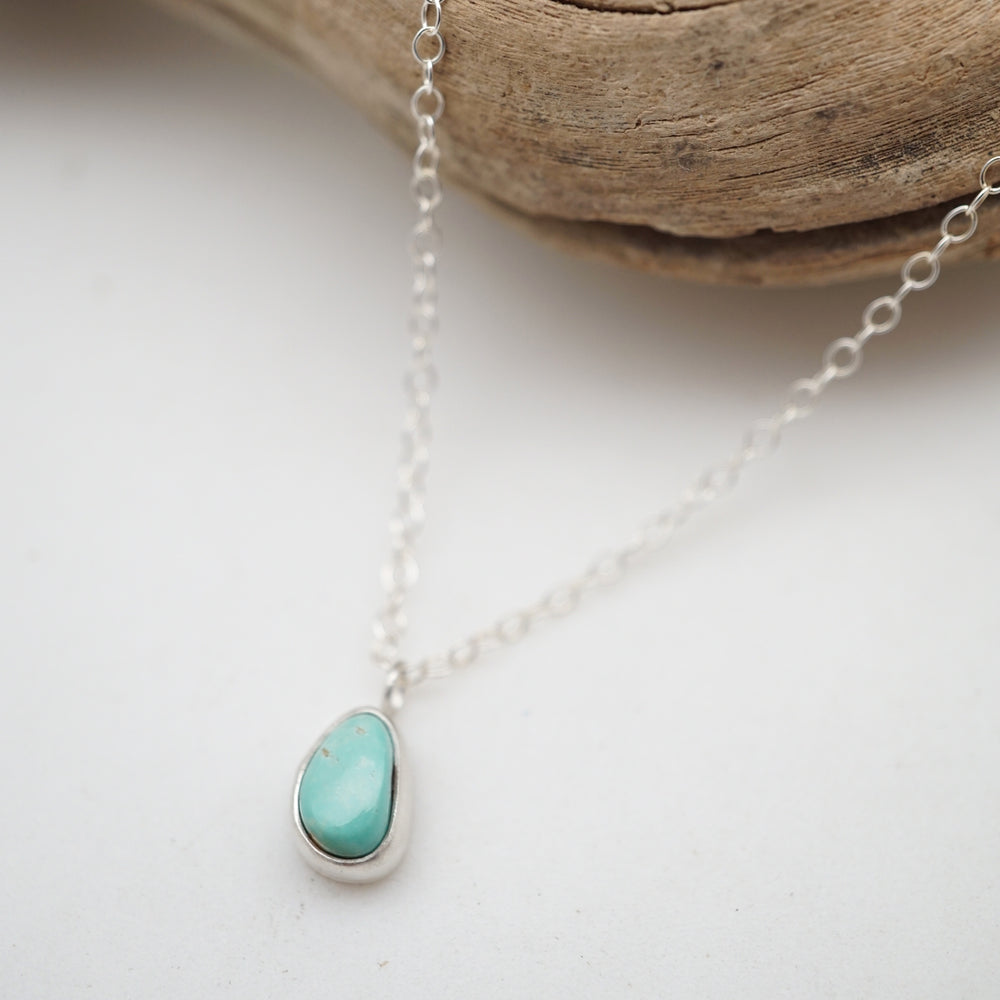 teeny tiny royston turquoise + silver necklace