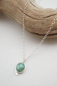 teeny tiny carico lake turquoise + silver necklace