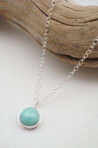 teeny tiny cheyenne turquoise + silver necklace