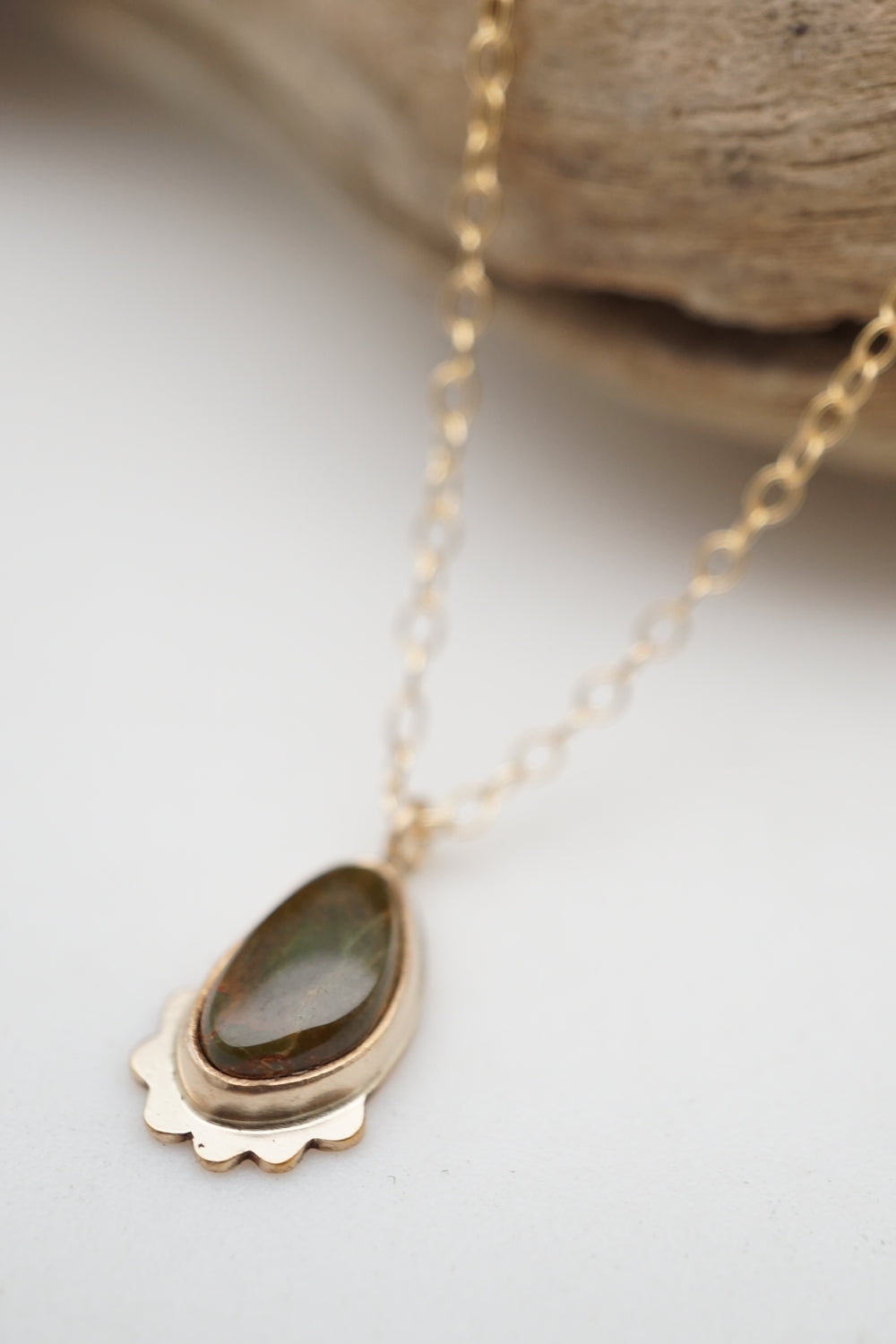 teeny tiny olive royston turquoise + 14k goldfill necklace