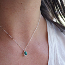teeny tiny high grade cheyenne turquoise + silver necklace