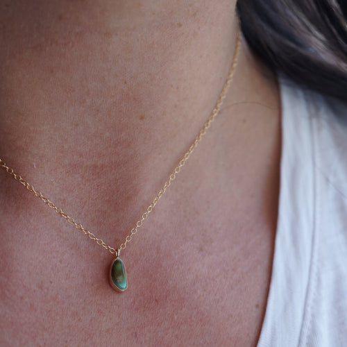 teeny tiny ombre royston turquoise + 14k goldfill necklace