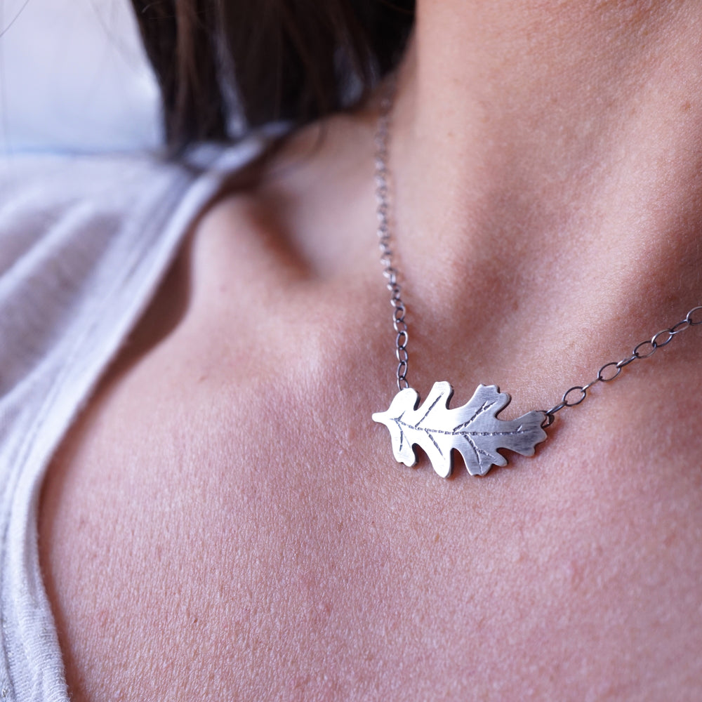 silver california oak leaf necklace