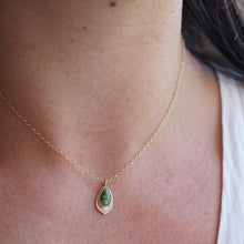 teeny tiny green royston turquoise + 14k goldfill necklace