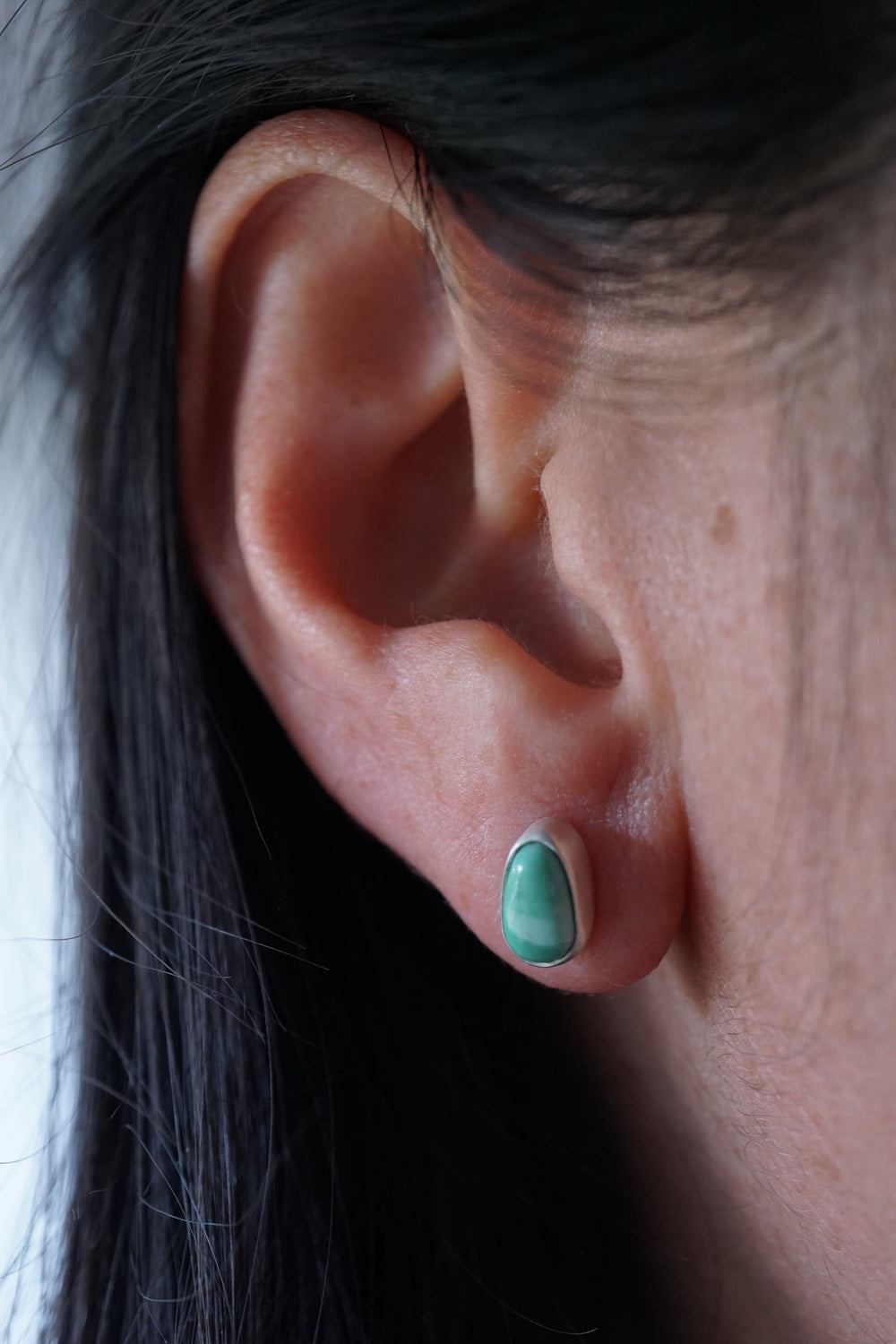 teeny tiny royston turquoise + silver stud earring pair