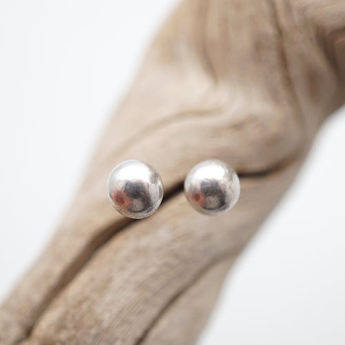 liquid silver drop studs - small