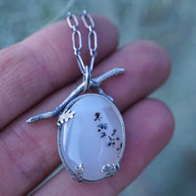 narmada river dendritic agate necklace with twig bale