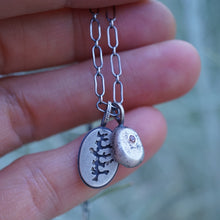 dendrite and zircon pebble charm necklace