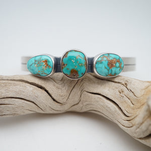 royston turquoise 3 stone cuff - xs/s