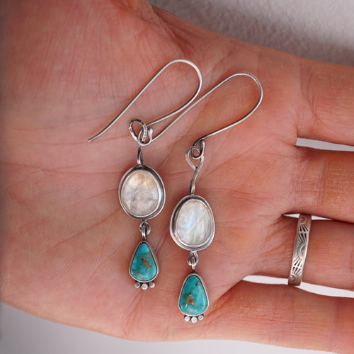 rain dangle earrings - rainbow moonstone + turquoise