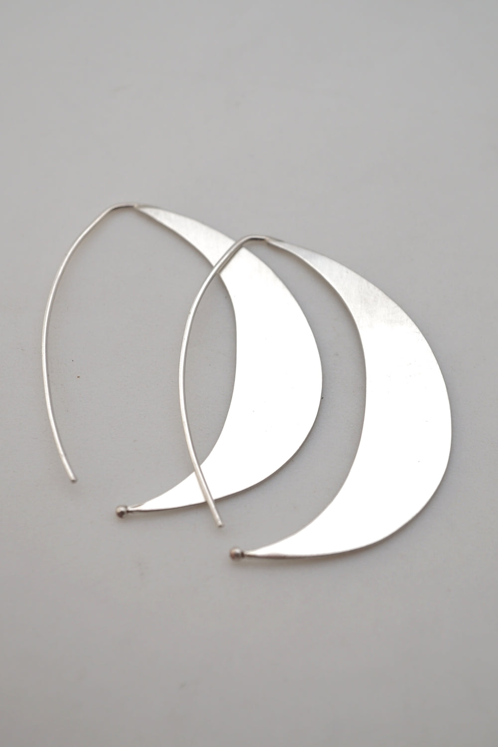 silver crescent earrings