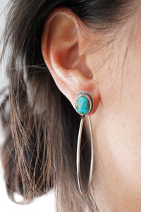 sonoran mountain turquoise + silver hoops - SMALL SIZE