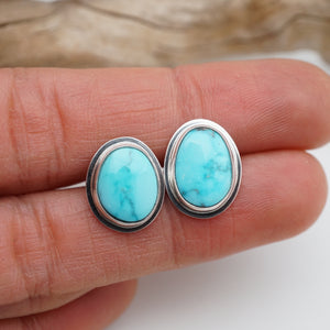 high polish kingman turquoise + silver studs