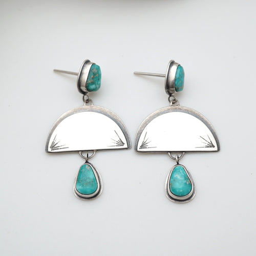 silver boho dangle earrings with turquoise